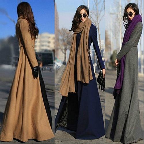 Women Fashion Winter Warm Elegant Slim Fit Super Long Woolen Cloth Dust Coat