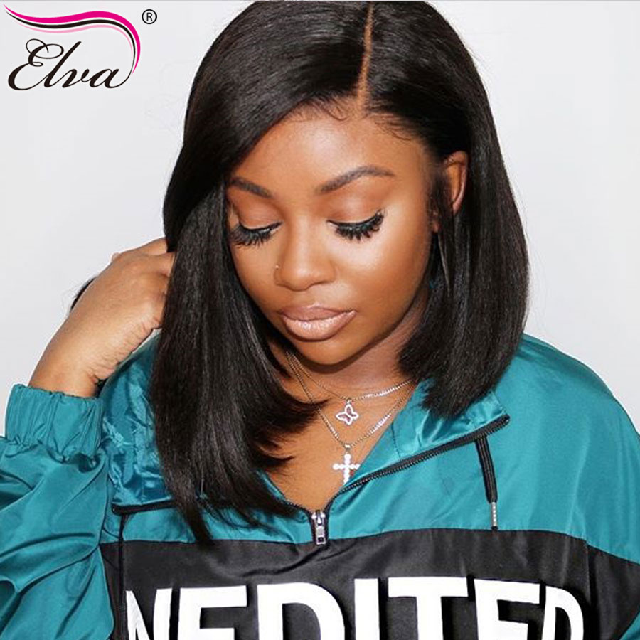 Elva Hair 13x6 Lace Front Human Hair Bob Wigs Pre Plucked With Baby Hair Brazilian Remy Straight Hair Lace Wigs For Black Women(China)