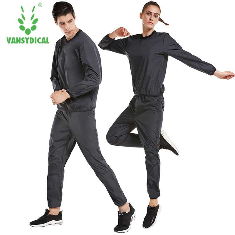 Vansydical Sweat Suit Women Men Sports Sets Running Suits Fitness Lose Weight Jacket Gym Sportswear Fitness Training Tracksuits lefan 2018 sport suits 3pcs men elastic running fitness sets male training sportswear clothes set gym tracksuits tight leggings