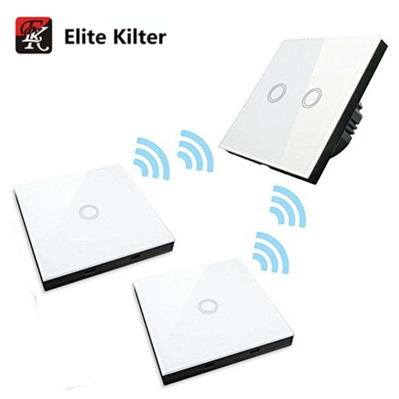 Elite En Décalage Tactile Commutateur 2 Gang 3 Voies L'UE/ROYAUME-UNI Standard Smart Interrupteur Mural Avec Télécommande Tactile 170 V ~ 240 V AC
