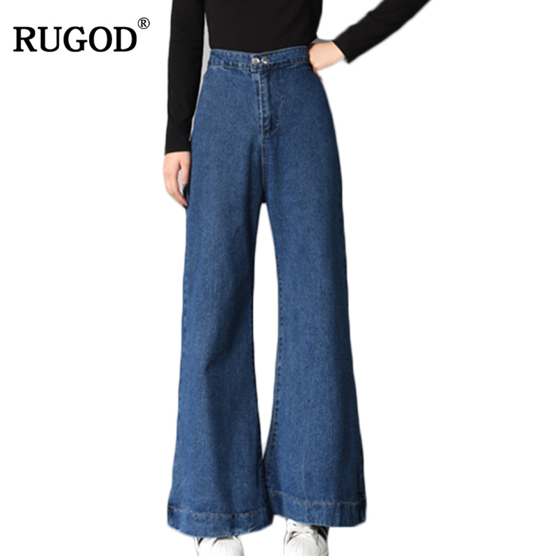RUGOD New Fall 2018 Fashion Loose Wide Leg Pants   Jeans   for Women Elegant Blue High Waist   Jeans   Femme Casual Slim Denim Pants
