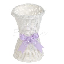 Artificial Rattan Vase Flower Fruit Candy Storage Basket Garden Decor