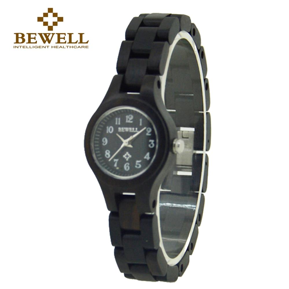 BEWELL 123A 여성 시계 패션 시계 블랙 우드 블랙 우레탄 시계 2018 년 브랜드 럭셔리 Small Round Watch 여성 시계 Relogio Feminino