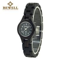 Barato BEWELL 123A Casual relojes de madera negra para mujer reloj de moda 2019 marca superior de lujo pequeño Dial redondo para mujer reloj de pulsera femenino