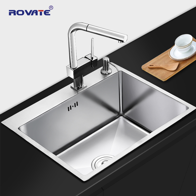 ROVATE Kitchen Sink With Overflow Hole Stainless Steel Brushed Drawing Single Bowl Handmade Brushed Seamless