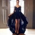 Black Lace júnior vestidos de formatura uma linha de moda Spaghetti backless alta baixa vestido Prom 2016 de alta escola vestido Homecoming F350