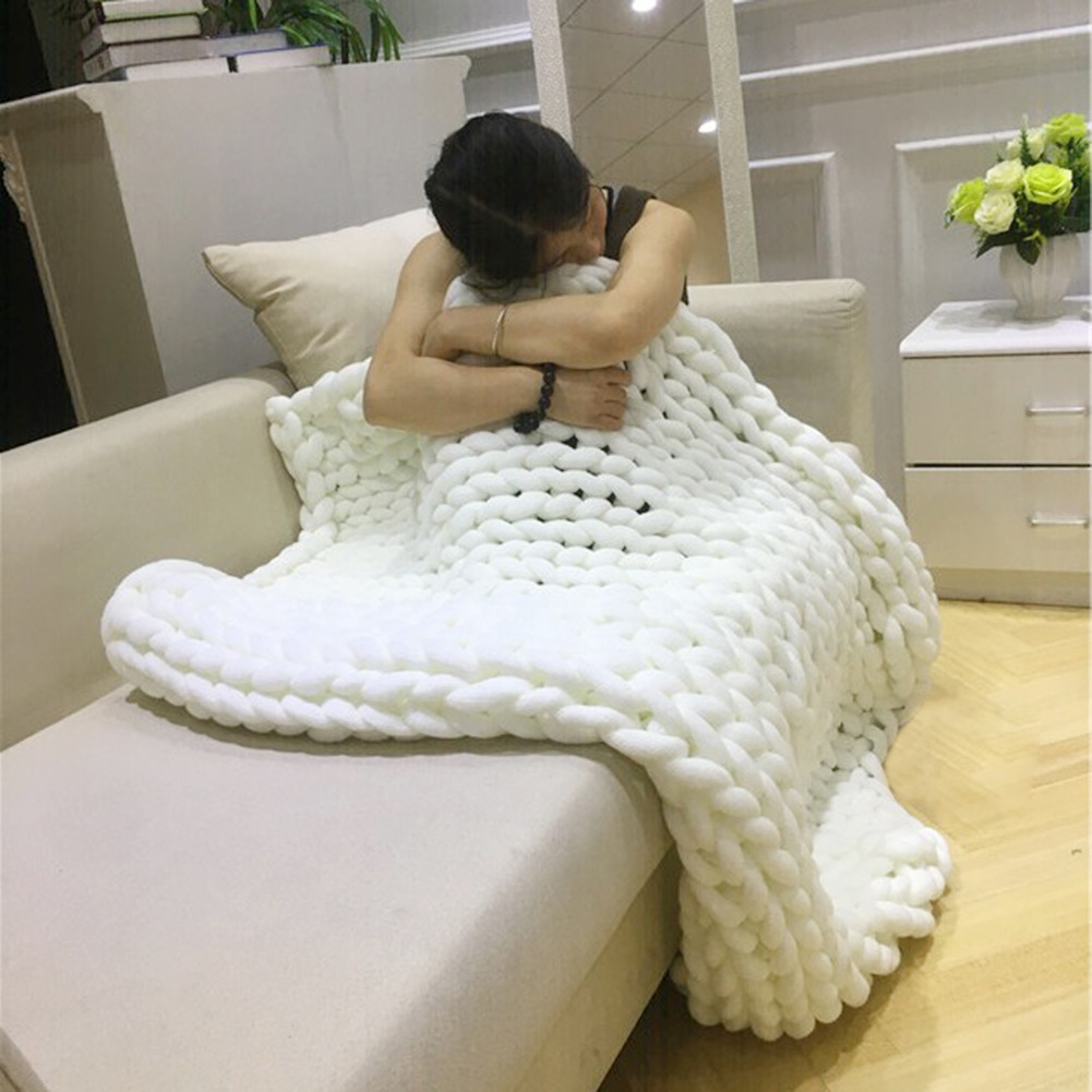 Super Thick Line Knitted Ultra-thick Yarn Blanket Air-conditioner Quilt Sofa Blanket Hand Woven Large Carpet  Photo Taking Props цена и фото