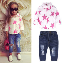 026e33035 Top de niño niña conjuntos de ropa de niñas de primavera conjunto de ropa  de algodón de manga larga Camisa + Jeans 2 piezas ropa.