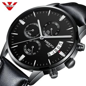 NIBOSI Mens Watches Top Brand Luxury Leather Army Quartz Watch Men Date Sport Clock Men Creative Chronograph Relogio Masculino