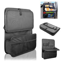 Multi-Pocket Auto Car Seat Back Organizer With Foldable Food Tray Table Mesh Pockets Drinks Holder Waterproof Travel Storage Bag