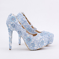 Handmade Blue Lace Prom Shoes Rhinestone Bridal Dress Shoes Platform Formal Shoes 5.5 Inches Comfortable Wedding Party Pumps