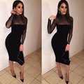 2016 Ladies Elegant Autumn Dresses Black/ White Mesh Slim Dress Sexy Bodycon Celebrity Night Club Wear Bandage Party Dresses
