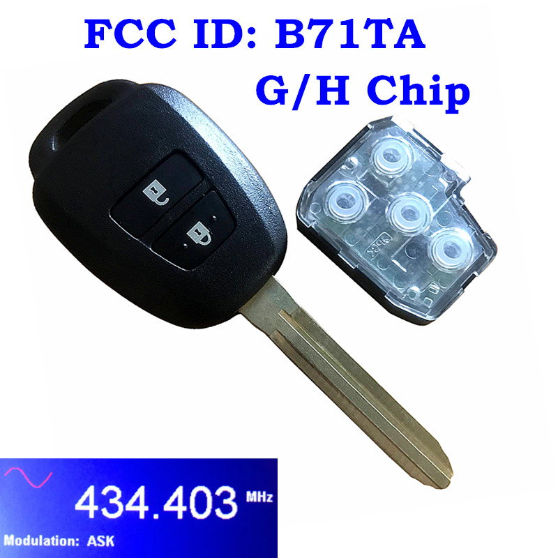 <font><b>Remote</b></font> Head Car <font><b>Key</b></font> Fob 2 Buttons 433MHz for <font><b>Toyota</b></font> <font><b>Yaris</b></font> Verso RAV4 2008-2015 with G H Chip Optional FCC ID B71TA image