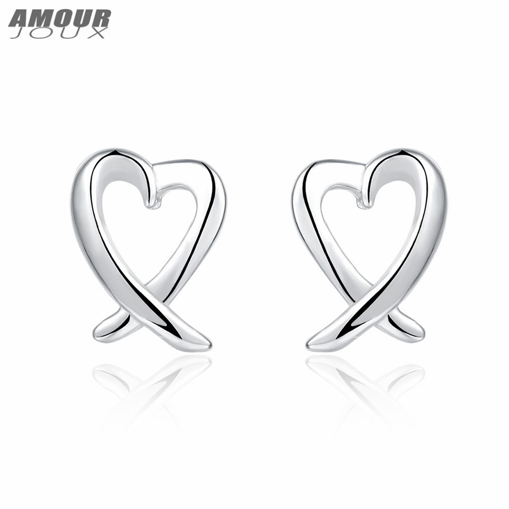 AMOURJOUX Romantic Hollow Heart Shaped Silver Color Stud Earrings for Women Female Studs Earring Girl Gift