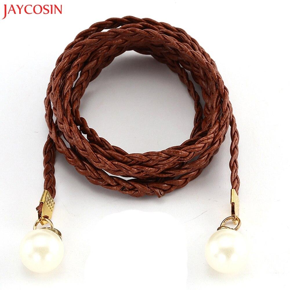 JAYCOSIN 1 unid cinturón de cintura cinturón estilo de colores de caramelo con cuerda de cáñamo Cinturón trenzado cinturón mujer/cinturón para vestido negro marrón rojo blanco z1123