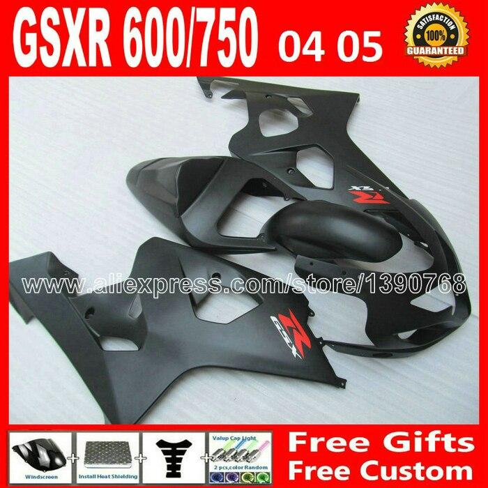 ABS for 2004 2005 SUZUKI popular flat black GSXR 600 750 plastic fairing kit K4  gsxr600 QUB gsxr750 fairings kits plastics 04 0 bodywork fairing set e for suzuki gsxr600 750 k4 2004 2005 black painted abs new [ck114]