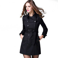 Classical England Women Trench 2016 Autumn Women Jacket Long Double Breasted Female Slim Coat Adjustable Belt