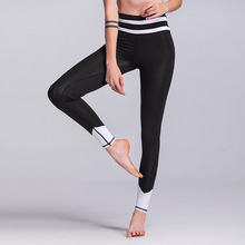 Fitness Sexy Mention Hip Women Casual Sporting Leggings White Stripe Patchwork Pants Elastic Not Transparent Female Trousers