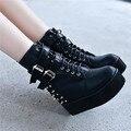 Mulheres Punk Rock rebite cravado plataforma zíper lateral fivela macacão cunha altura crescente sapatos botas de tornozelo
