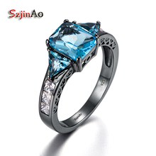 Szjinao 925 Sterling Silver Ring Black Gold Color Jewelry Blue Topaz Fashion Vintage Wedding Rings For Women Birthday Gift