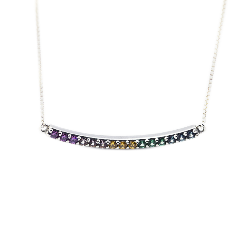 Spring Multi Colored Curved Bar chokers Necklace for women 925 sterling silver link chain long pendant necklaces fine jewelry
