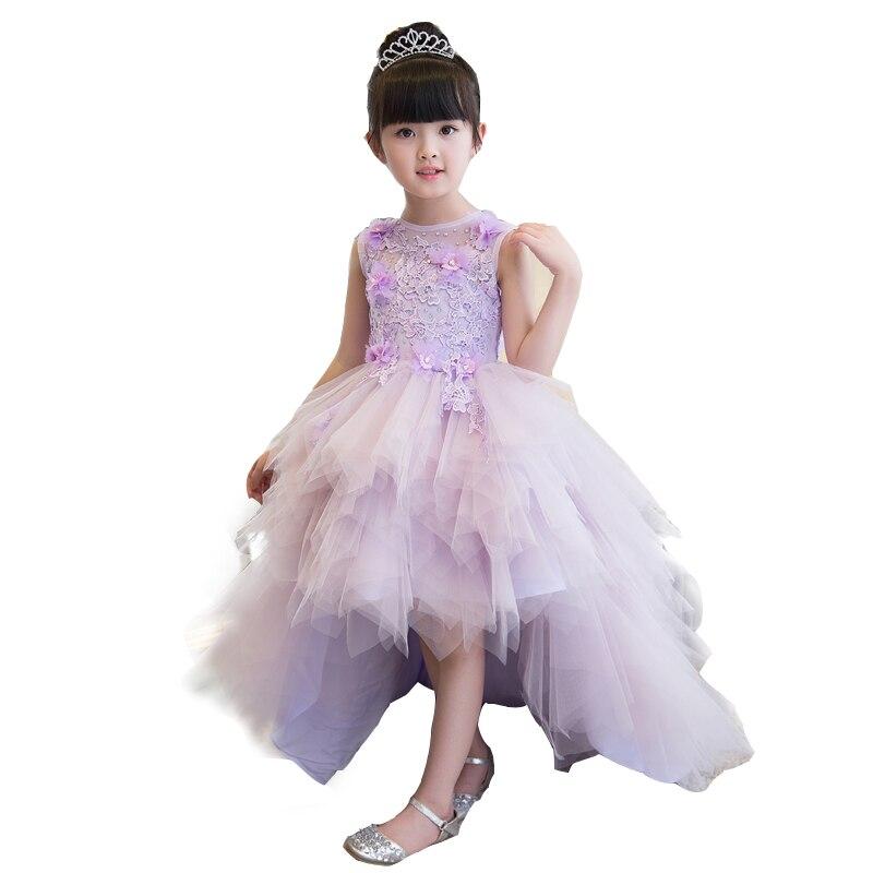 Здесь продается  2017High Quality Purple Color Girls Children Removable Tailing Princess Dresses for Wedding Ball Gown Evening Dresses 5-15Year  Детские товары