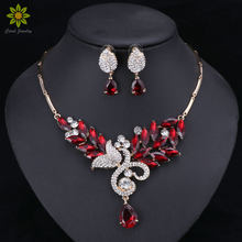 Fashion Jewelry Sets Nigerian Women Gold Color Bridal Green/Red Crystal Wedding African Beads Necklace Earring Sets(China)