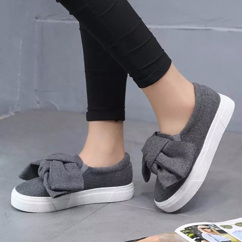 Women Shoes Spring Autumn Platform Shoes Woman Creepers Big Bow Slip On Canvas Shoes Women's Flats Zapatos Mujer 2017 vintage women flats summer new soft canvas embroidery shoes casual slip on bow dance flat sandals for woman zapatos mujer