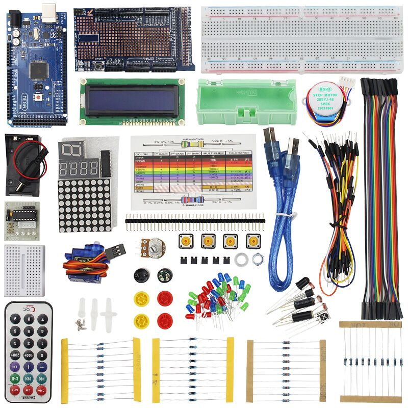 Super MEGA Starter Kit pour LCD LED Capteur Servo Moteur Capteur Module avec MEGA 2560 Projet D'apprentissage AVR MCU Apprenant