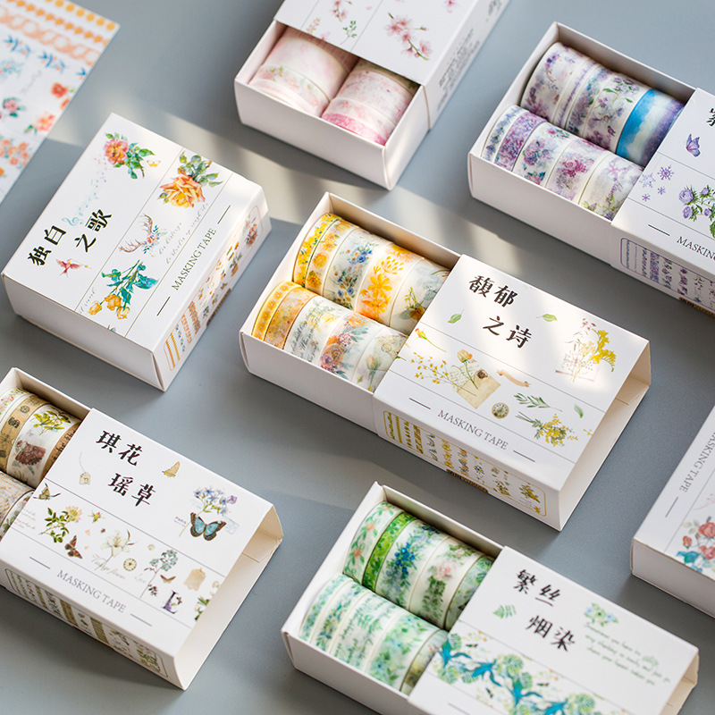 10 Rolls/Set Beautiful Flower Series Freshness Album Sketch Book DIY Decorative Stickers Masking Tape
