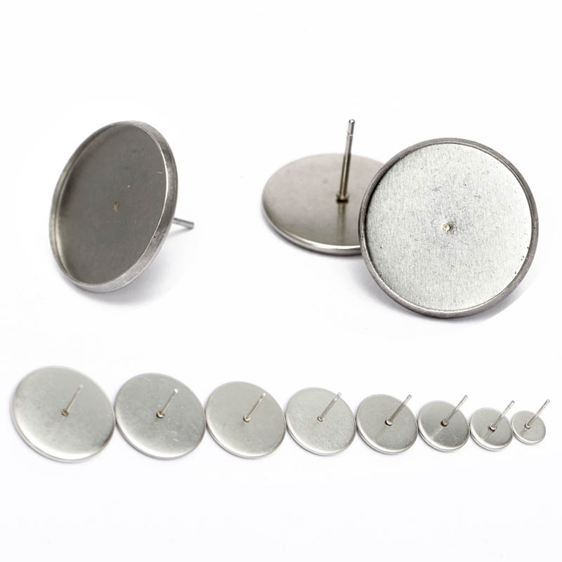 20pcs Stainless Steel Ear Stud Cabochon 10mm 20mm Earrings backs Findings for diy Jewelry making earrings Base blank bezel tray mibrow 10pcs lot stainless steel 8 10 12 14 16 18 20mm blank french lever earring tray cabochon setting cameo base jewelry