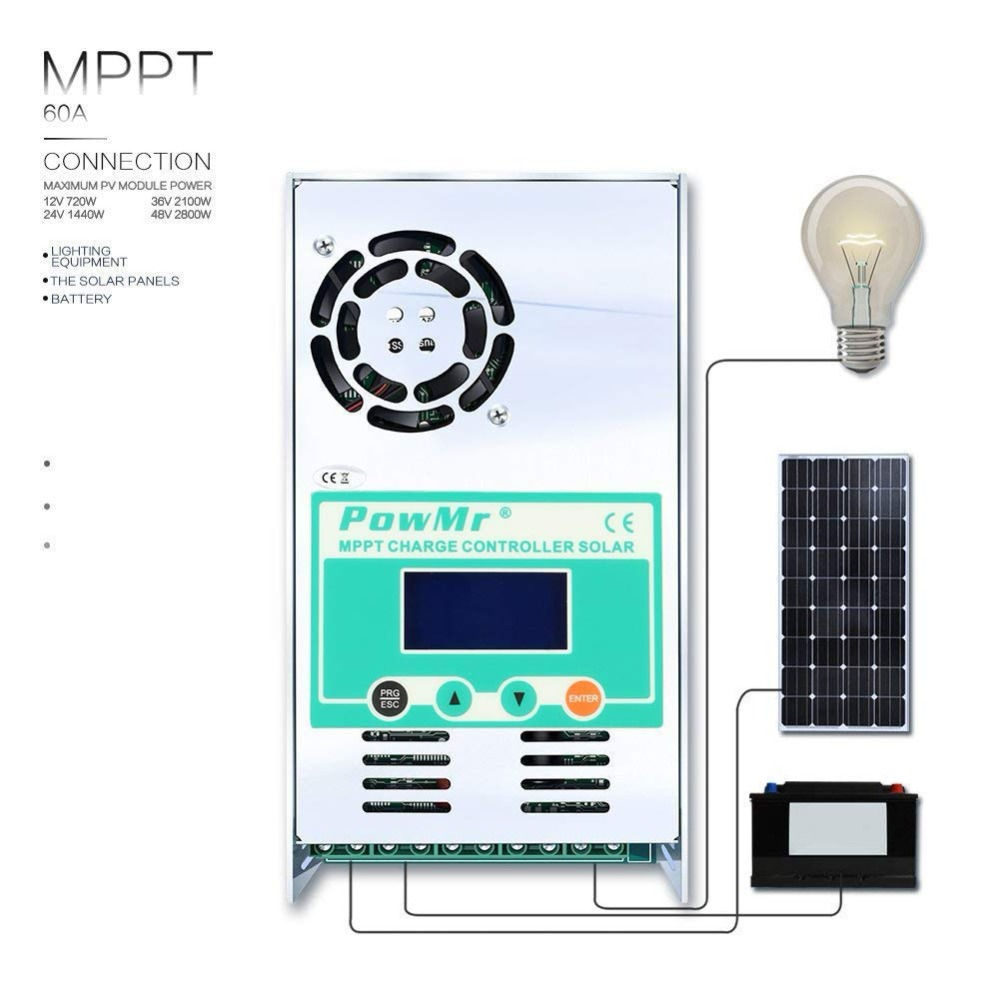 PowMr 40A 50A 60A MPPT Solar Laderegler 48V 36V 24V 12V Auto Max 190VDC Eingang versiegelt und Li Hintergrundbeleuchtung LCD Solar Regulater