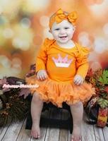 Kraliçe Günü Rhinestone Bling Dot Pembe Taç Turuncu Babysuit Bebek Kız Elbise Yay Bandı Aksesuarı Set NB-MAJSA0525