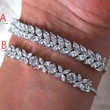 Модный AAA кубический цирконий багет мужской и женский браслет тонкий браслет медная основа с золотым цветом