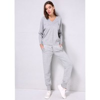 V Neck Pullover Sweater Cashmere Trousers Knitted Suit Two Piece Set Woolen and Cashmere Knitted Warm Suit