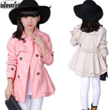 2019 new girl spring autumn princess jacket solid color medium-long girls trench