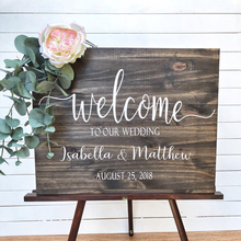 Wedding Welcome Sign Wood Decor Personalised baptism Rustic Decoration Vinyl Wall Stickers Mural For Board Decals N001