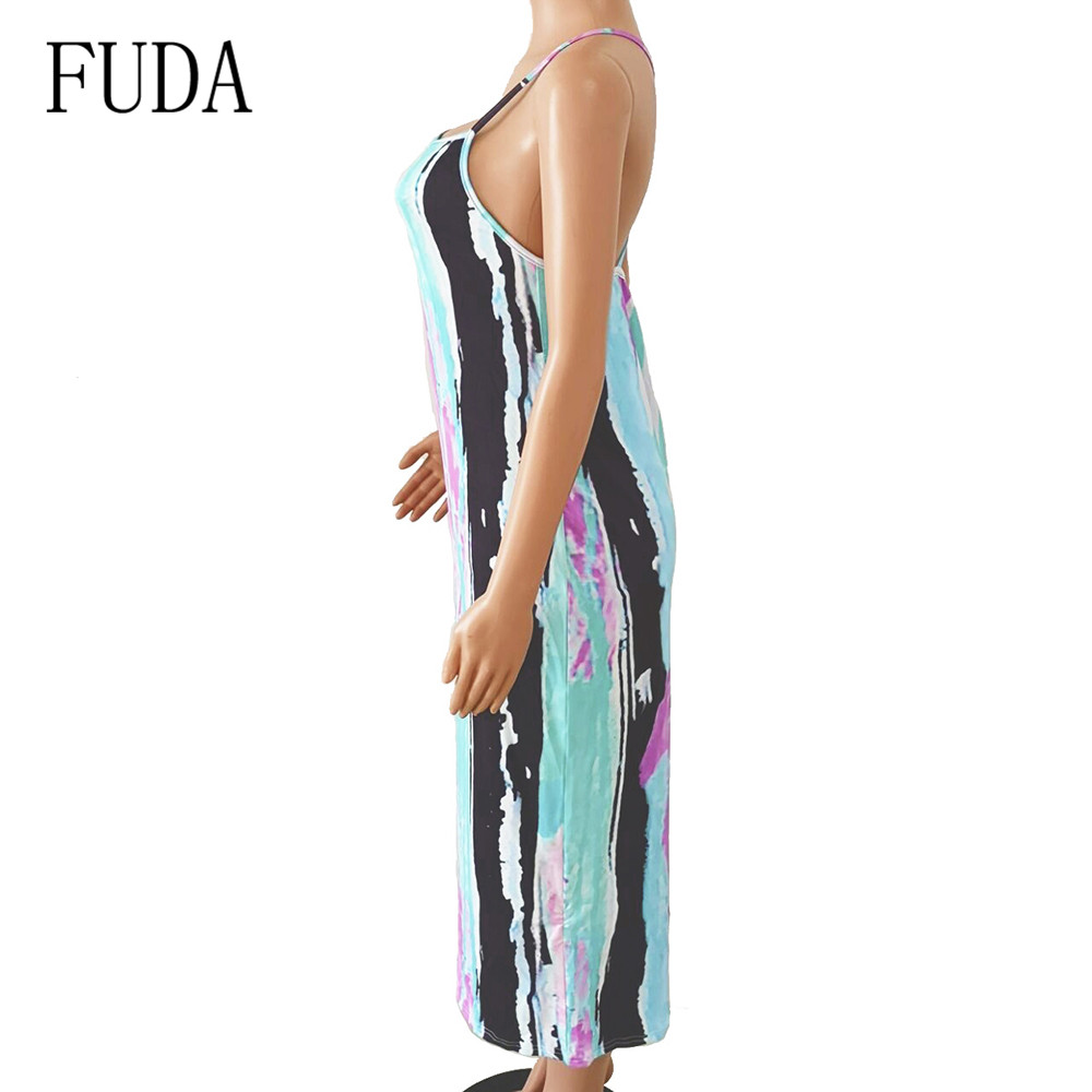 FUDA Spaghetti Strap Sleeveless Vintage Dress Elegant Tie Dyeing Printed Bodycon Slim Dress Summer Hollow Out Retro Dresses in Dresses from Women 39 s Clothing