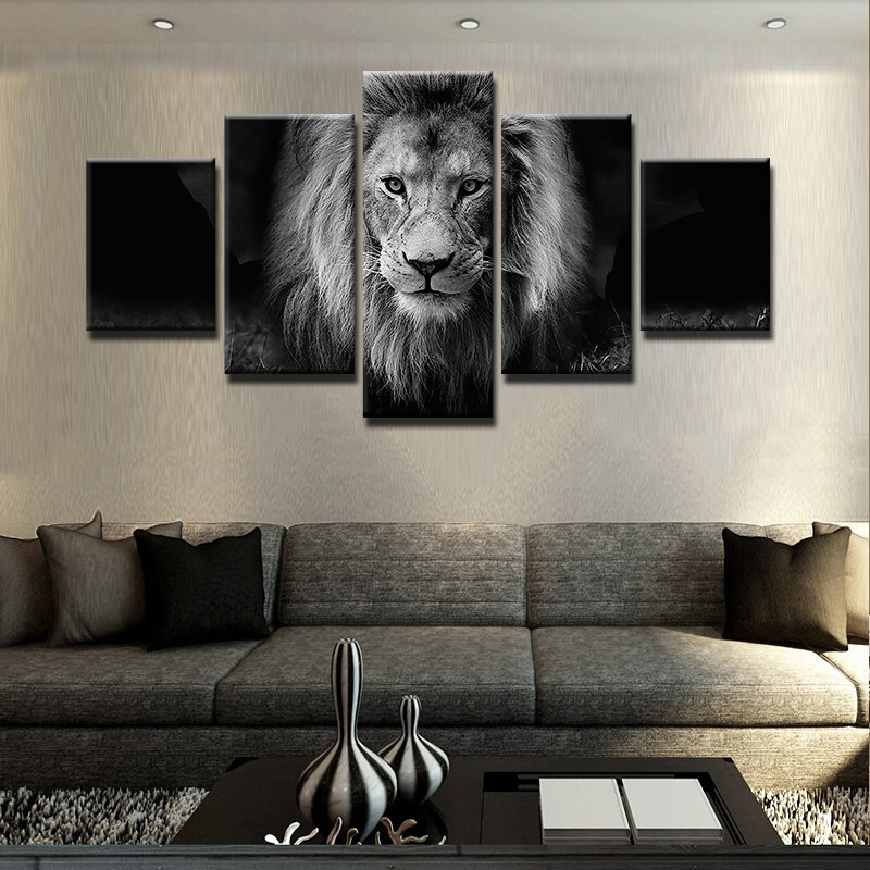 Black And White Paintings For Bedroom Bedroom Sets Black Modern Bedroom Black Bedroom Furniture Sets Pictures: Modern 5 Panel Black And White Animal Lion Canvas Wall Art