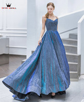 Vintage Dark Blue Evening Dresses Ball Gown Sequins Tulle Shiny Prom Party Dress Evening Gown 2019 New Fashion JK77