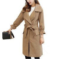 NYMPH 2017 Luxury Brand Winter Women Thicken Warm Woolen Coat Office Lady Female Slim Belt Wool