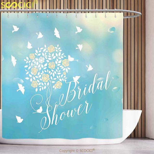Fun Shower Curtain Bridal Decorations Clear Sunny Summer Sky Birds Flowers Bride Party Blue