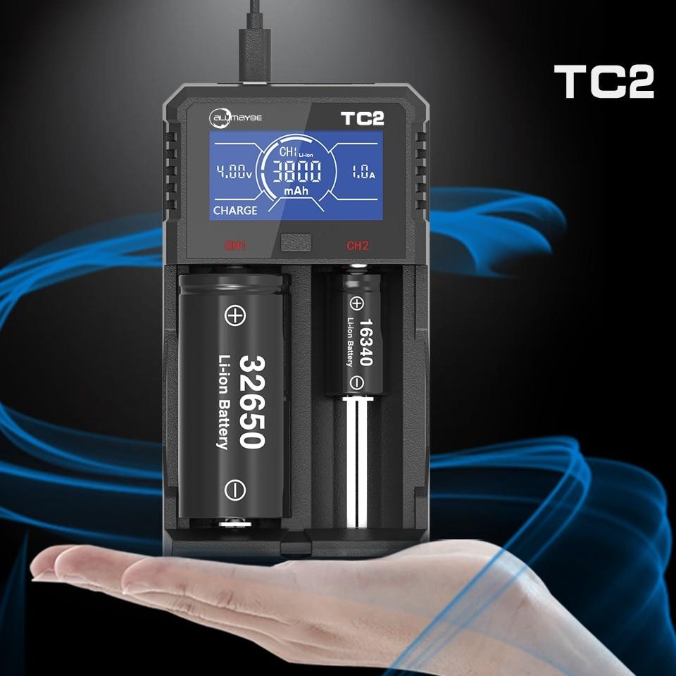 Allmaybe TC2 LCD Screen USB Battery Charger for 3.6V/3.7V 32650 26650 18650 16340 14500 Li-ion and 1.2V AAA AA Ni-MH/Ni-CD цена 2017