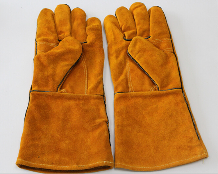 Long Industrial Protective gloves Cow Split Leather Welding Gloves Insulation resistant Anti-Cut