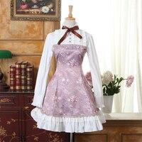 Por encargo púrpura violeta sweet lolita dress princesa estilo de la flor impreso de manga larga de algodón más el tamaño de la muchacha dress