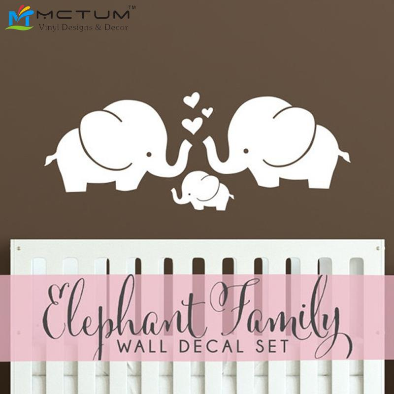 Cute elephant hearts family wall decals baby nursery decor for Baby room decoration wall stickers