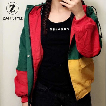 ZAN.STYLE Winter Warm Color Block Hooded Corduroy Jacket Drawstring Hit Color Patched Pocket Thick Basic Women Coat Harajuku New Сумка