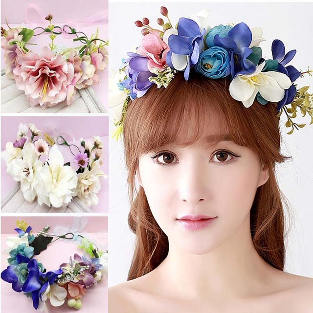 Women bride wedding flower wreath headdress jewelry bride wedding garland Bridesmaid  headband Studio Photos jewelry flowers bbbe61c0e7d
