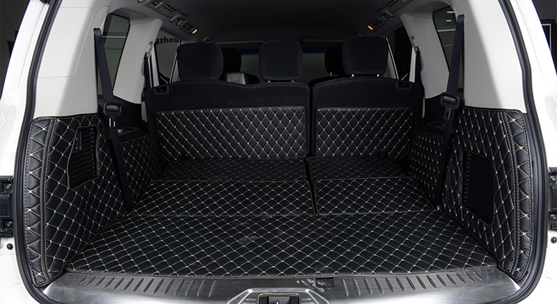 Inner Trunk Mat Car Boot Pad Carpet Trunk Cargo Liner For Nissan Patrol Armada Y62 2010-2018 Car styling accessories for honda crv cr v 2017 2018 auto trunk liner rear cargo boot mat 3d floor tray carpet mud pad waterproof protector car styling