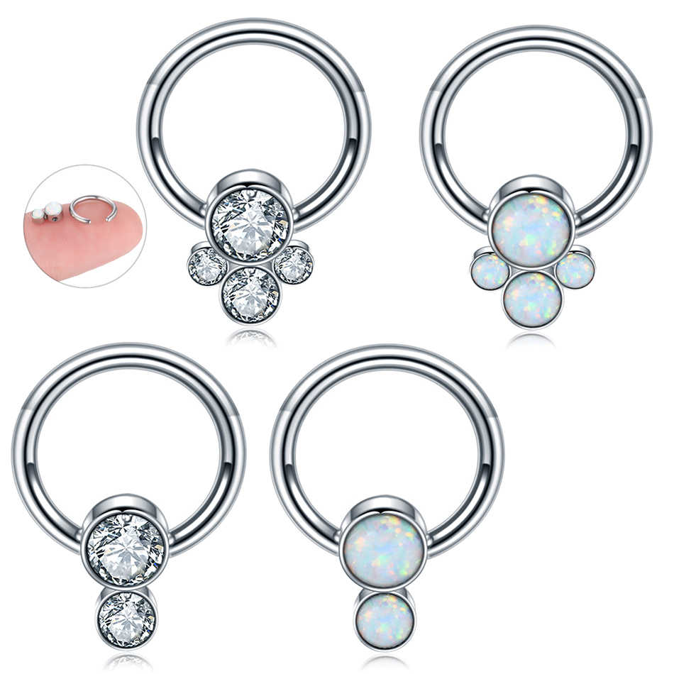 1PC Steel Opal Gem Nose Septum Rings Piercing 16G Ear Helix Tragus Rings Daith Rook CBR Nipple Belly Piercings Sexy Body Jewelry